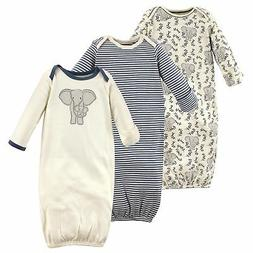 Touched by Nature Baby 3-pack Organic Cotton Gown, Elephant,