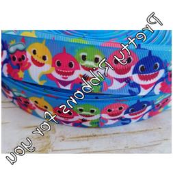 "baby SHARK 1"" wide grosgrain ribbon the listing is for 5 yar"