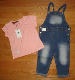 7 For All Mankind Baby Toddler Girls Overalls Shirt Set Outf