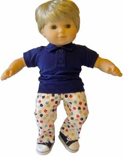 For Bitty Baby Boy Doll Clothes 3 PC Navy Polo, Gym Shoes &