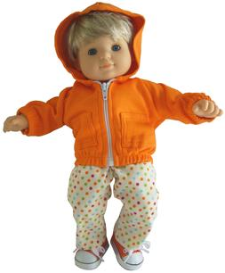 For Bitty Baby Boy Doll Clothes 3 PC Orange Hoodie & Shoes P