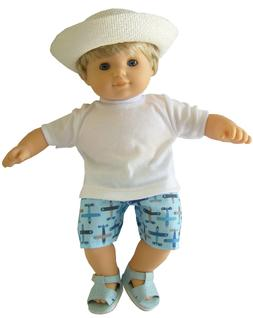 For Bitty Baby Boy Doll Clothes 4 PC White T-Shirt-Airplane