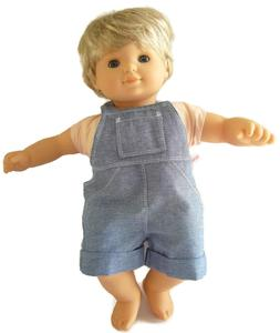 For Bitty Baby Boy Doll Clothes Chambray Overalls Shorts Cuf