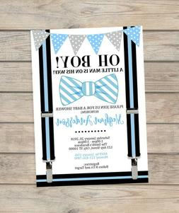 Bow Tie Little Man Baby Shower Invitation Blue Bowtie Invite