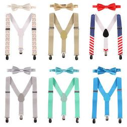 Boy Bow Ties Suspenders Birthday Outfit for Baby Toddler Kid