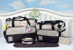 SoHo- Brown Diaper bag with changing pad 6 pieces set