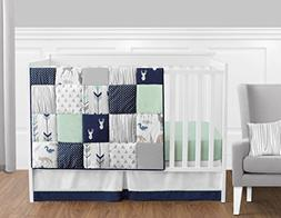 Bumperless Navy Blue Grey Forest Deer Arrow Baby Boy Nursery