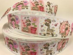 "By The Yard 1"" Baby Giraffes Grosgrain Ribbon For Hair Bows"