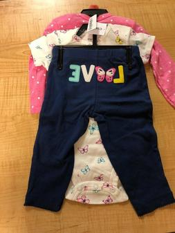 Carter's 3 Piece Baby Girls outfit BUTTERFLY CHECK FOR SIZE