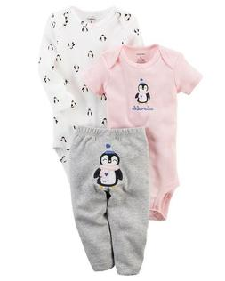 Carter's 3 Piece Baby Girls outfit Penguins  CHECK FOR SIZE