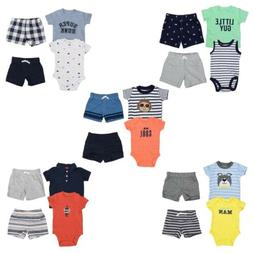 Carter's 4 Piece Set for Baby Boys - Bodysuit, T-Shirt, 2 Sh