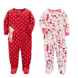 Carter's Baby Girls One Piece Fleece Footed Pajama - Zippere