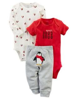 Carters Baby Boy's 3-Piece Little Character PENGUIN Set CHEC