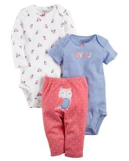 Carters Baby Girl's 3-Piece Little Character OWL Set CHECK F