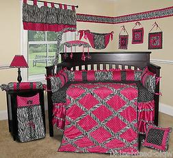 Custom Baby Bedding -Hot Pink Zebra 13 PCS Crib Bedding