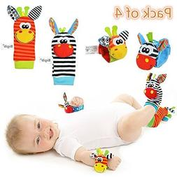 Cute Animal Soft Baby Socks Toys Wrist Rattles and Foot Find