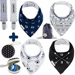 Baby Bandana Drool Bibs+2 Pacifier Clips+Pacifier Case, For
