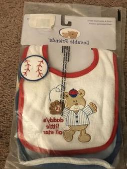 Luvable Friends Drooler Bibs For Boys, 3-Pack, One Size