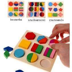 educational puzzle sets wooden geometry wood toys