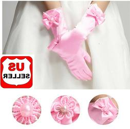 Elegant Pearl  Bow Flower Gril's Dress Long White Gloves for