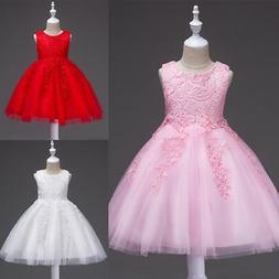 Girl Princess Lace Flower Dress Bridesmaid Wedding Gown Tull