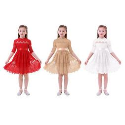 Flower Girls Dress Lace Gown Princess Pageant Wedding Tutu D