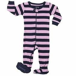 Leveret Footed Striped Baby Girl PJ Sleeper, Purple/Navy