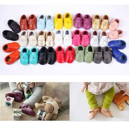 Genuine Leather Baby Moccasins Tassels for Infant Toddler Bo