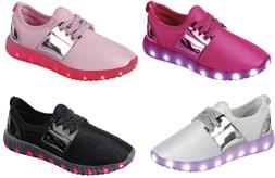 Girl's Light Up LED Shoes For Baby Toddler And Youth Kids At