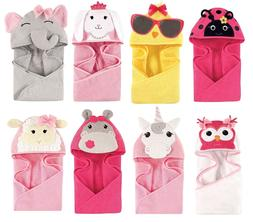 "HUDSON BABY GIRLS ANIMAL HOODED TOWEL 33"" x 33""  100% COTTON"