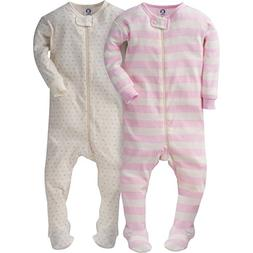 Gerber Girls' 2 Pack Footed Sleeper, Tiny hearts/Stripes, 6