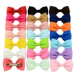 20Pcs Hair Bows Band Boutique Alligator Clip Grosgrain Ribbo