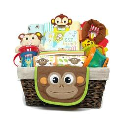 Happy Monkey Gender Neutral Baby Gift Basket with Receiving