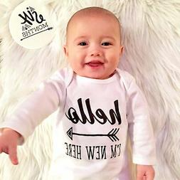 HELLO I'M NEW HERE BABY GOWN COMING HOME OUTFIT GENDER NEUTR