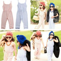 For Infant Baby Girl Cotton Striped Solid Romper Jumpsuit Bo