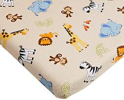 Jungle Buddies Beige Safari Animals Fitted Baby Crib Sheet N