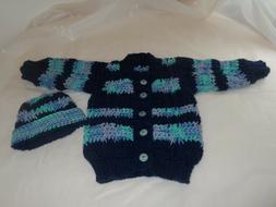 JUST FOR BABY!BABY BOY SET.HAND CROCHETED-KNITTED.HAT AND CA