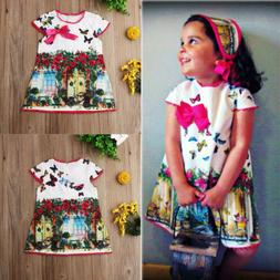 For Kids Baby Girls Clothes Butterfly Print Dress Infant Par