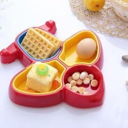 Kids Dish Plate Plane Shaped Food Snack Tray Serving For Chi
