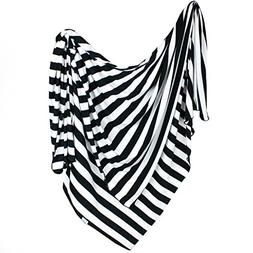 Large Premium Knit Baby Swaddle Receiving Blanket Black and