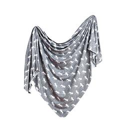 Large Premium Knit Baby Swaddle Receiving Blanket Grey and W