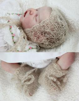 Knitted mohair Bonnet & Booties set for baby photography or