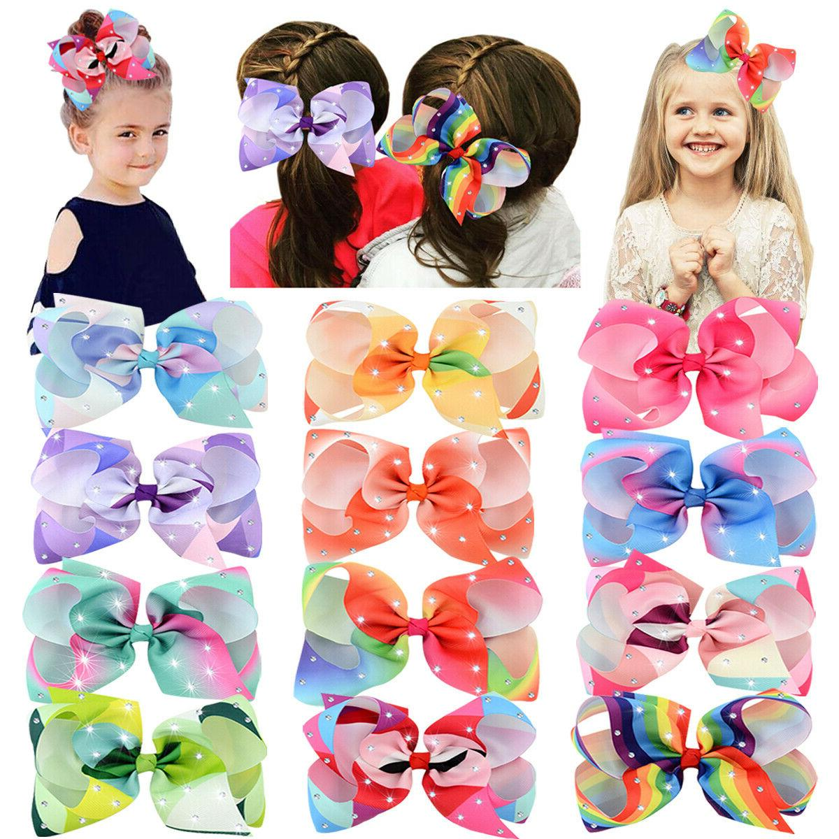 12pcs 6 big glitter hair bow clips