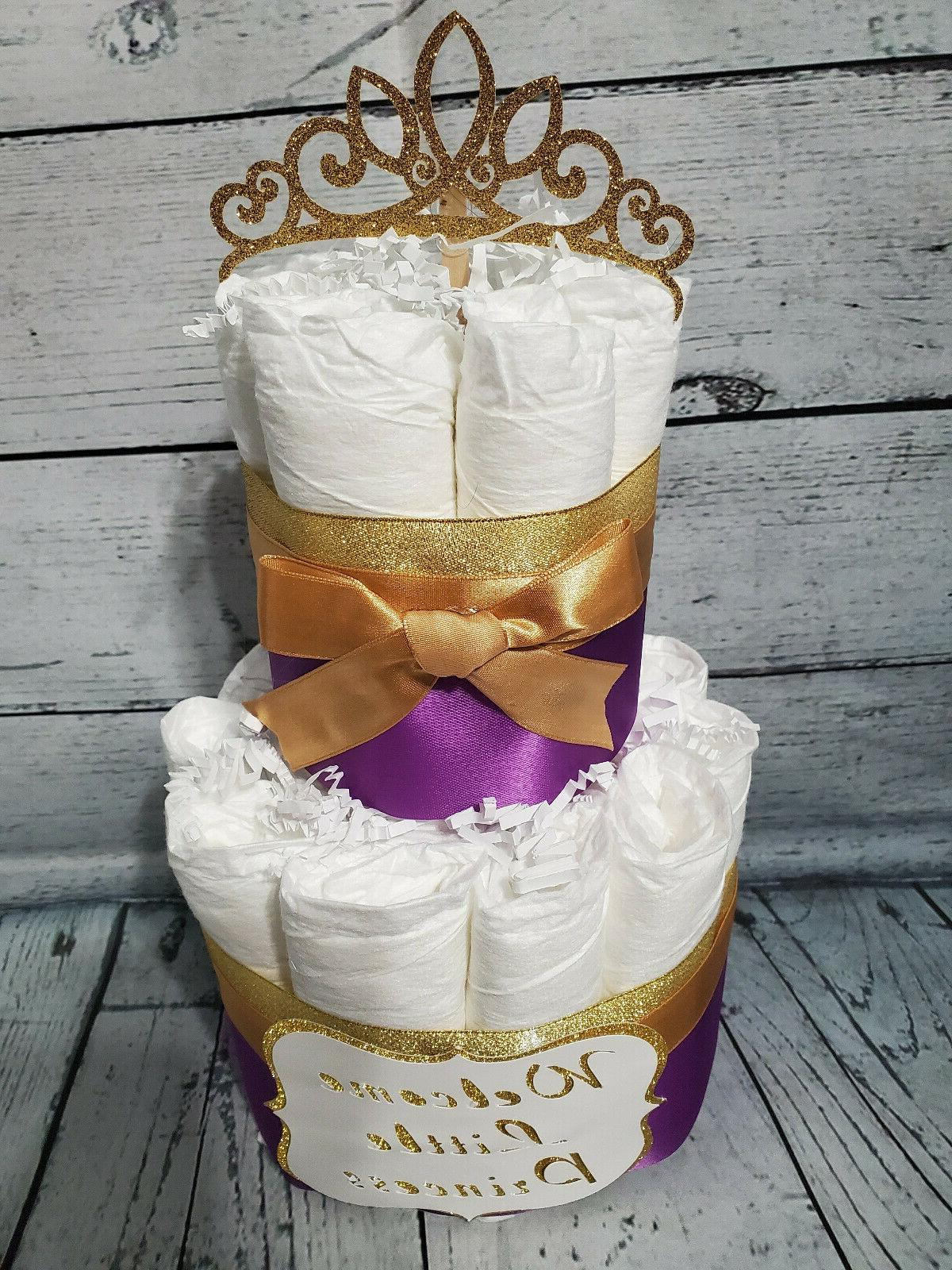 2 - Royal Purple and Gold Princess Cake for Baby