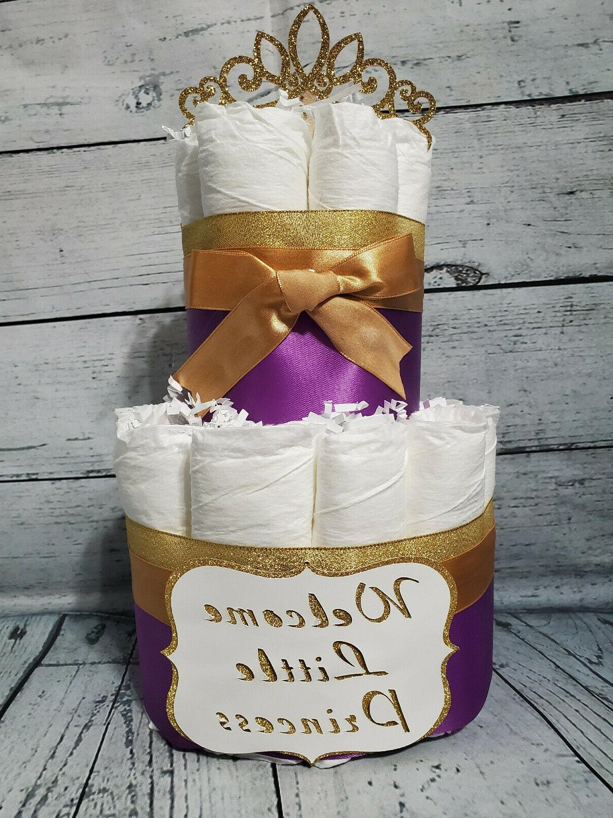 2 Tier Diaper - Royal Purple and Cake for