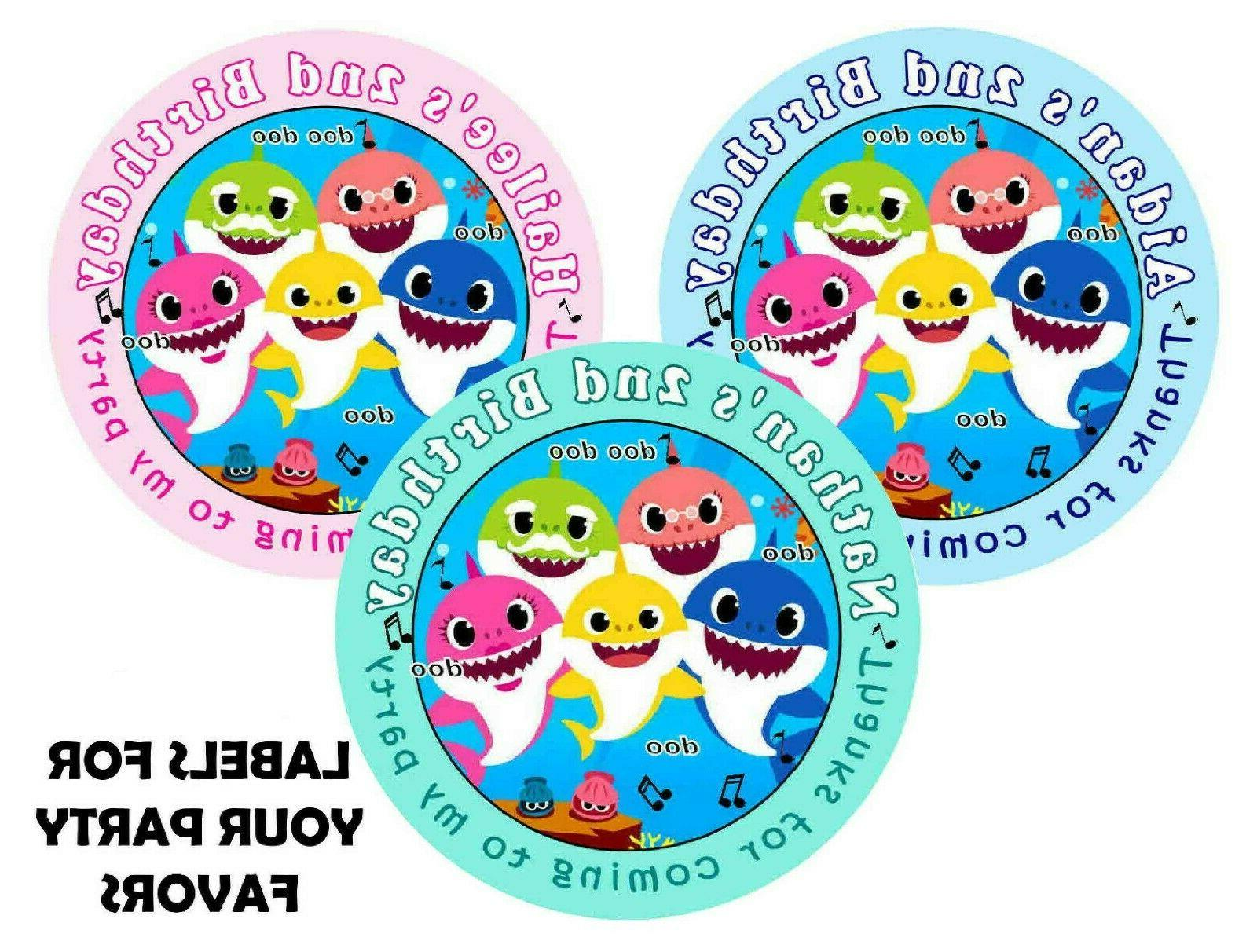 20 baby shark birthday party favors labels