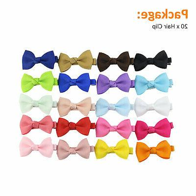 20Pcs Hair Bows Clip Grosgrain Ribbon Boutique Alligator For Girl Baby Kids