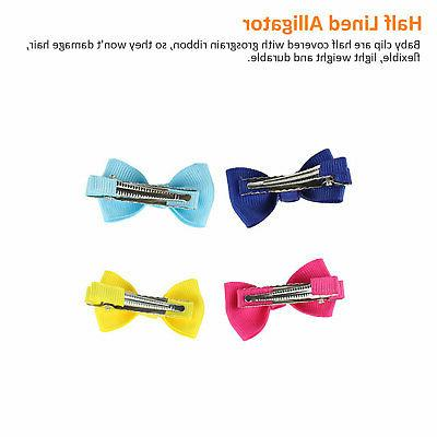 20Pcs Hair Bows Band Clip Ribbon Boutique Alligator Girl Kids