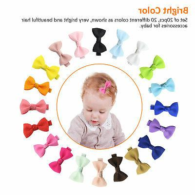 20Pcs Hair Bows Band Clip Grosgrain Ribbon Alligator Kids