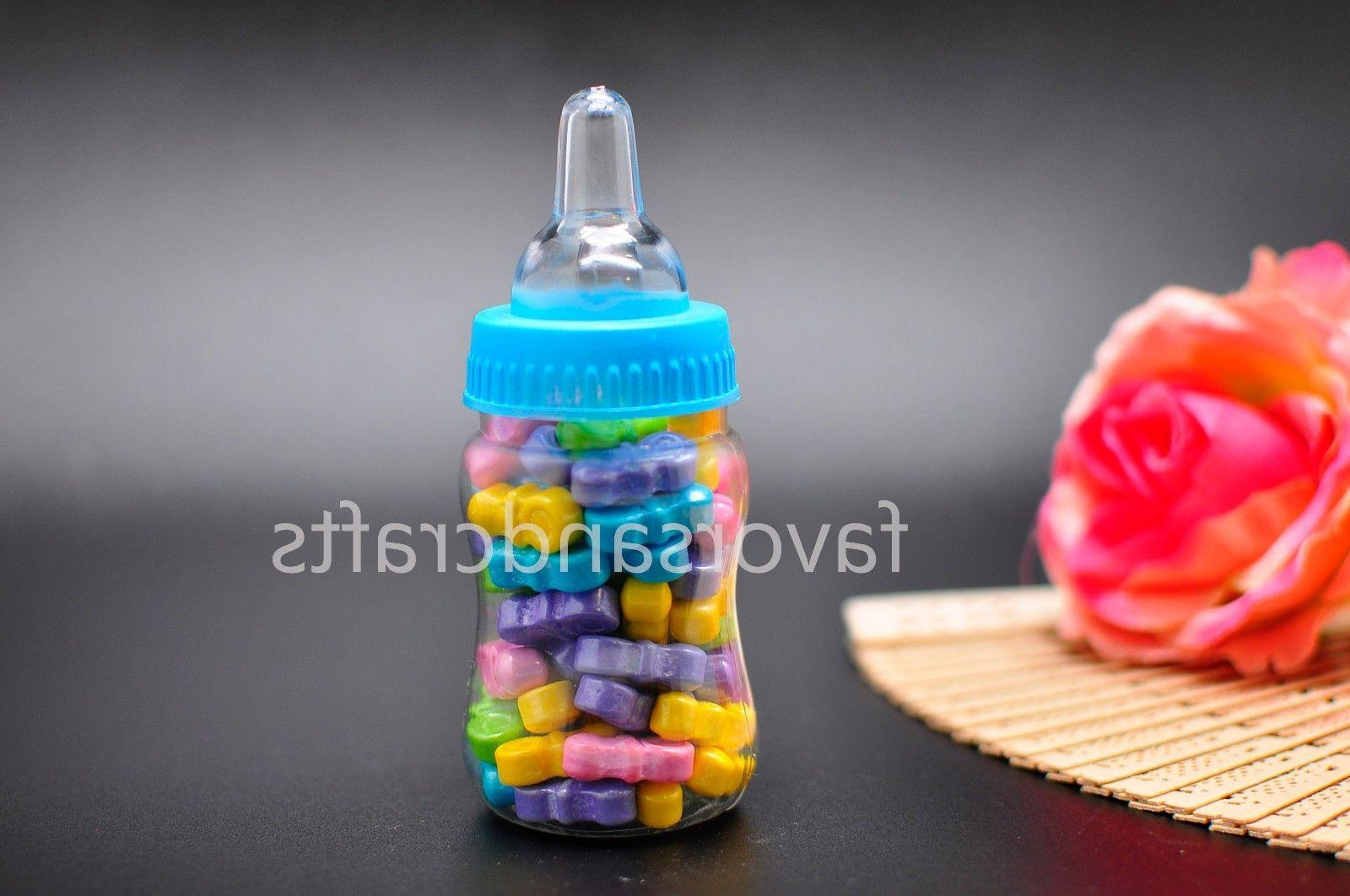 24 Fillable Bottles for Baby Favors Blue Pink Decorations Girl Boy